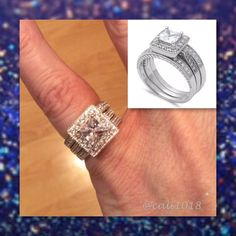🆕3pc 925 Sterling Silver Vintage Style Ring Set 4 Style: 3pc Wedding Ring Set Size: 4  Metal: .925 Sterling Silver CZ Stone Type: Russian CZ Main Stone Size: 6X6mm Glam Squad 2 You Jewelry Rings