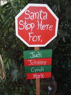 santa stop here sign personalised - Google Search