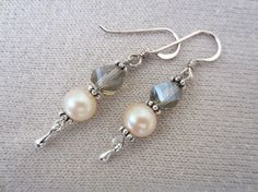 Did someone say pearls??  Classic pearl and crystal dangles on Etsy.