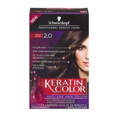Schwarzkopf Keratin Color Permanent Anti-Age Hair Color 2.0 Ebony Brown, 1.0 KIT
