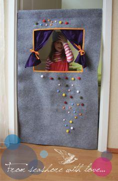 Waldorf style wool felt doorway puppet theatre by StripedCoast