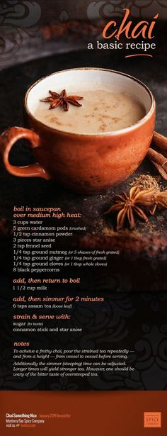 Not coffee but a great option. : ) [ DIY: Chai Tea Recipe ] made with: water, cardamom pods, cinnamon powder, star anise, fennel seed, nutmeg, ginger, cloves, peppercorns, milk, assam tea and sweetener of choice. ~ from Monterey Bay Spice Company: