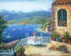 Italian Lunch On The Terrace ~ Marilyn Dunlap