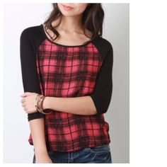 """Red Black Plaid Baseball Jersey Top Color blocked, meet Plaid. World, meet awesome top. Fabric is 100% Rayon. 3/4 Sleeves. Measures Bust 34"""", Hemline 40"""", Length of Front 24"""", Length of Back 26"""", Length of Sleeve 18"""". Size Small is ready to ship. Also available in B&W as shown in Image 4. Tops"""
