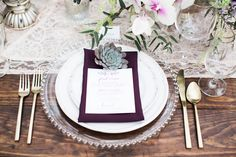 purple and gold table setting with succulent accent - photo by Jen & Chris Creed