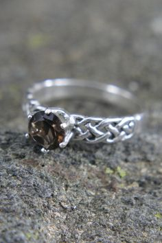 Viking Style Smokey Quartz 7mm Gemstone set in a Celtic Twisted Sterling Silver 6 Prong Woven Ring, Size 9.25  Makes a Great Birthday Gift for Him or Her, or Just for Yourself ;)