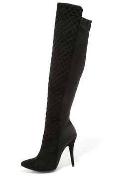Feel Like a Woman Black Suede Over the Knee Boots at Lulus.com!