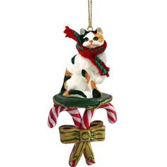 Calico Cat Candy Cane Christmas Ornament *** Want to know more, click on the image.