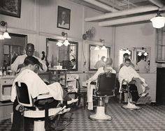 Barber Shop You are looking at a collectible picture of Senate Office Bldg. Barber Shop. It was made in 1937 by Harris & Ewing.   The photo documents United States.