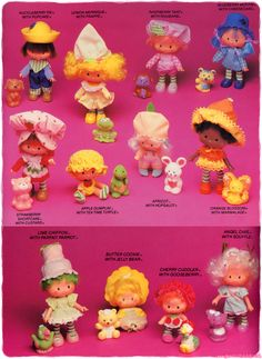 In 1981 Kenner made all the dolls with pets. Each of the six original dolls got a pet friend, the three original dolls were also re-produced and 5 more dolls were introduced girls, 1 baby and 1 villain). They were each scented like their name. Strawberry Shortcake Cartoon, Strawberry Shortcake Cheesecake, Homemade Strawberry Shortcake, Vintage Strawberry Shortcake Dolls, Childhood Toys, Childhood Memories, Barbie, 80s Kids, Vintage Toys