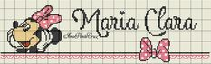 Maria Clara, Disney, Minnie Mouse, Projects To Try, Decor, Cross Stitch For Baby, Cross Stitch Alphabet, Girl Names, Sweet