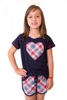 3d3a31d80 Pijama Feminino Infantil Curto com Shorts- Coração Retrô