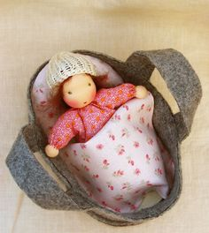 I want this for Amelia.   Waldorf doll 7 inch/ 18 cm baggy sack doll with cradle