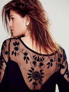 black lace back shirt - free people