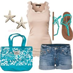 Beach Summer Outfit, created by natihasi on Polyvore