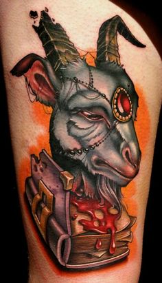 Kelly Doty - A Book About Goats tattoo (collab with Timmy B)