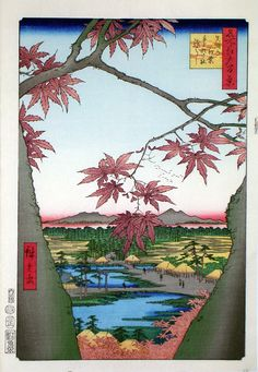 Hiroshige's Maple Trees at Mama, Tekona Shrine and Linked Bridge Mama no momiji Tekona no yashiro Tsugihashi