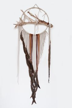 """Branch Dreamcatcher, Sparrow - 14"""", ivory and brown dream catcher, large, suede leather, feathers, wall art by BartonHollow on Etsy https://www.etsy.com/listing/222984703/branch-dreamcatcher-sparrow-14-dream"""