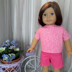 70c71b842aeab9 Hot Pink Doll Shorts and Pink Print Doll Blouse / Doll Short Set / 18 Inch Doll  Clothes / Doll Accessories / Fits American Girl Doll