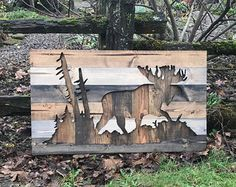 24x24 Painted Wood Sign Wall Art  Moose by ClaireCourtDesigns