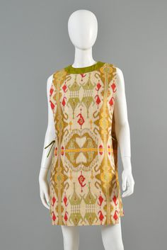 Pierre Cardin Vintage 1960s Couture Ethnic Print Tabard Dress | BUSTOWN MODERN