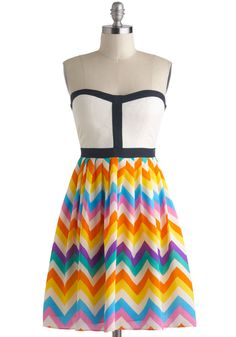 Chevron a Whim Dress - Multi, Quilted, Trim, 60s, Spring, Short, Chevron, Casual, Vintage Inspired, A-line, Strapless, Sweetheart, Daytime Party, Summer