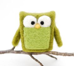 Needle Felted Owl olive green home whimsical decor play by feltjar, $25.00