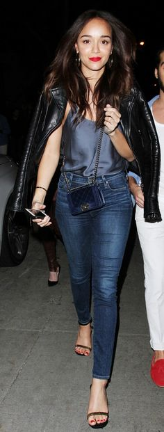 Ashley Madekwe in a silky camisole, skinny jeans and tough moto jacket