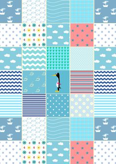 FREE printable blue patchwork patter paper