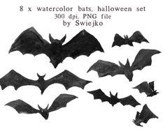 Watercolour Clipart Halloween Clipart Digital by SwiejkoForPrint