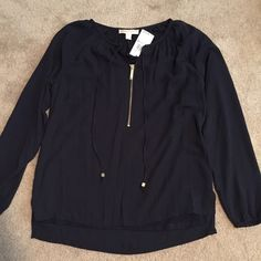 Michael by Michael Kors blouse! Dark blue with a gold front zipper! Loose and flowy MICHAEL Michael Kors Tops Blouses