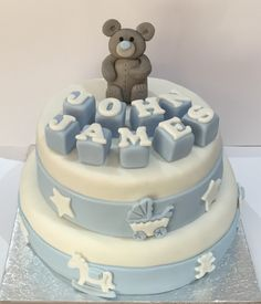 Christening themed teddy bear chocolate cake ready for delivery! Based in Leek, Staffs why not check out my cake & cupcake business - www.acupfulofcake.co.uk for menu and prices!