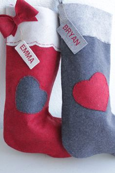 Red with grey heart and bow Wool felt Love Christmas Stockings by AFeltedChristmas