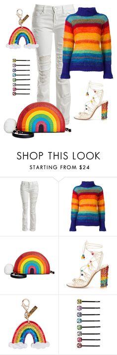 """Rainbow Day"" by lavalu-1 ❤ liked on Polyvore featuring Sans Souci, Kansai Yamamoto, Betsey Johnson, Salvatore Ferragamo, Edie Parker, Cara and rainbow"