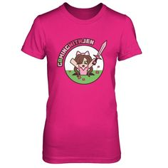 """Gaming With Jen - OFFICIAL MERCH!  """"Hey guys! I finally have my own shirt! I figured it should have me in a hole since I can never seem to avoid those things. Only available for a short period of time so feel free to pick one up if you want it. Love you guys!"""" - Jen   More styles in drop-down!   WORLDWIDE SHIPPING"""