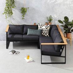 whkmp's own loungeset Berkeley, Zwart/naturel Welded Furniture, Metal Patio Furniture, Iron Furniture, Home Decor Furniture, Outdoor Furniture Sets, Furniture Design, Sofa Design, Interior Design, Wooden Sofa Set Designs