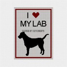I LOVE MY LAB LABRADOR SILHOUETTE AFGHAN BLANKET CROCHET PATTERN GRAPH by cozyconcepts