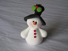 Polymer Clay Snowman Ornament by ClayPeeps on Etsy