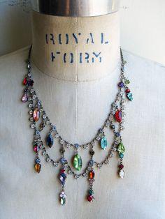 Multi-Color Vintage Festoon Repurposed Necklace by PaulaMontgomery
