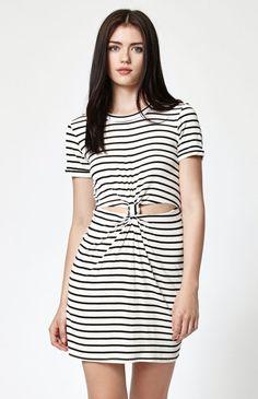 Stripe Knot Front T-Shirt Dress