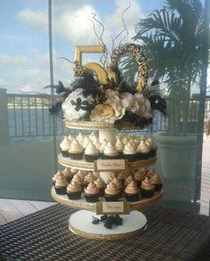 50th anniversary cupcake tower