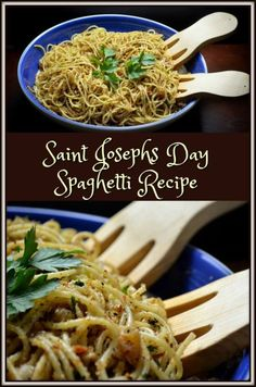 Spaghetti which has been coated with a mixture of olive oil, breadcrumbs, walnuts, garlic, golden raisins and parsley. Saint Josephs Day Spaghetti recipe.