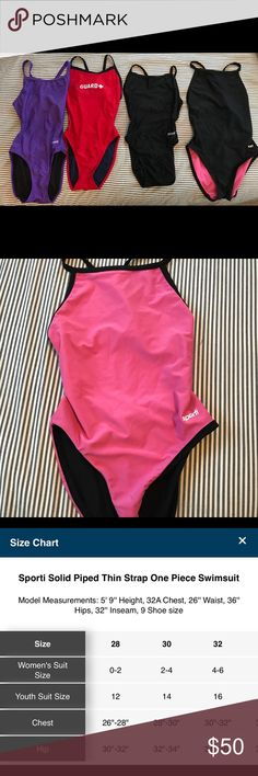 Sporti One Piece Swimsuits I used to lifeguard and wear these for work, now they sit in my closet. These are awesomely comfy and super stretchy. These were by far my favorite fit.  Will sell all together and consider selling separately!  Left to Right: Purple- size 28  Guard- size 28  Black- size 28 Black/Pink Reversible- size 30 Sporti Swim One Pieces