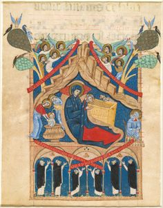 Master of Imola, Italian, active 1265 - 1280 Italian 13th Century The Nativity with Six Dominican Monks  1265/1274  miniature on vellum  overall: 46.8 x 36 cm (18 7/16 x 14 3/16 in.)  Rosenwald Collection