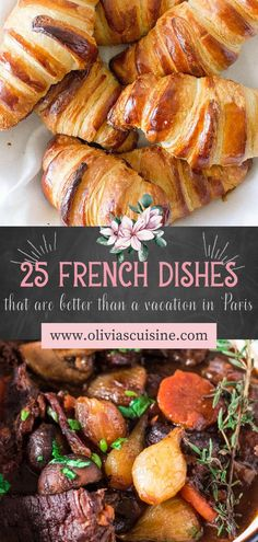 From Boeuf Bourguignon and croissants, to quiche and baguettes, French food has everything you could want! It's decadent, delicate, and delicious, and also easy to make in the comfort of your own kitchen. This recipe roundup of French dishes is sure to make you feel like you're in Paris for the day! These easy french recipes are also perfect for a romantic date night at home this summer! #datenight #frenchrecipes French Dishes, French Food, Lunch Recipes, Dinner Recipes, Cooking Recipes, Easy Weeknight Meals, Easy Meals, Easy French Recipes, Croissants