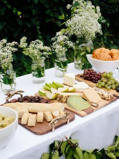 We love French-inspired food, including crescents, fruit, figs, a baguette, green beans and assorted pasteurized cheeses. See how to plan your own French-inspired, all-white baby shower.