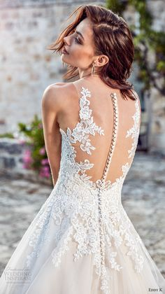 eddy k 2018 bridal sleeveless embroidered strap deep plunging v neck heavily embellished bodice romantic princess a line wedding dress sheer back chapel train (lydia) zbv