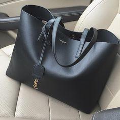YSL Saint Laurent black leather tote in 2020