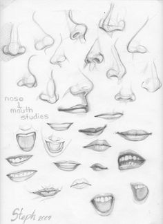 I was bad at Noses and mouths, so I practiced and pasted this to the wall above my desk. Now to work on feet. . . again. Remember to draw good!