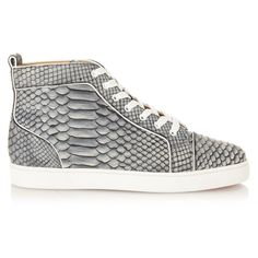 Christian Louboutin Louis python high-top trainers (7.220 RON) ❤ liked on Polyvore featuring men's fashion, men's shoes and men's sneakers